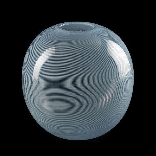 "CARLO SCARPA (1906 - 1978) VENINI Large spherical mezza filigrana vase, Murano, des. 1934, executed 1946-65; Acid-etched mark VENINI MURANO ITALIA; 12 1/4"" x 12"""