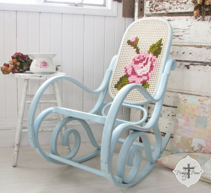 Upcycled Bentwood Rocker with lattice back and seat ~ paint and cross stich whatever design you want on the back :)