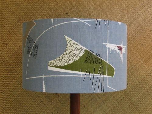 Original mid century fabric on a new, handmade drum shade.