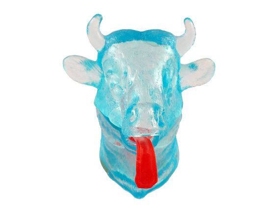Bull Creamer Blue Glass Red Tongue Cow Creamer Novelty
