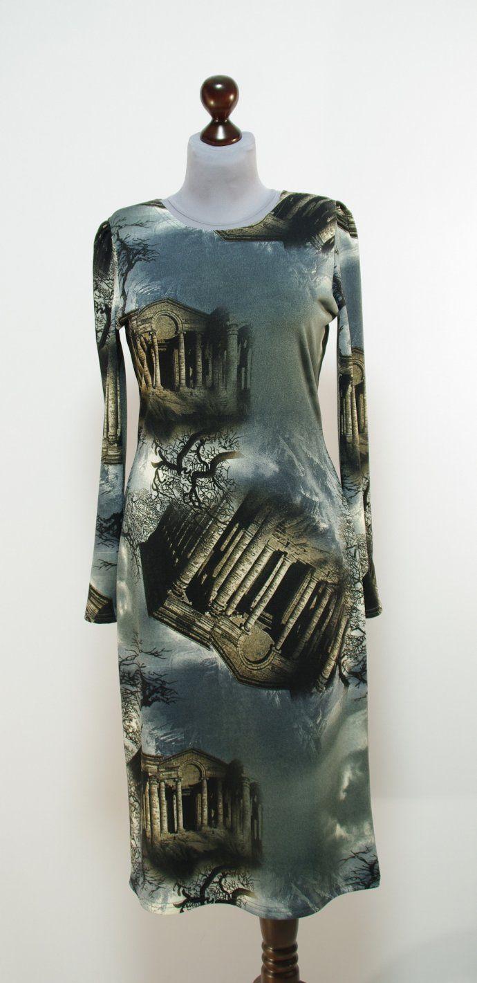 Серо-коричневое платье с принтом, длина миди | Платье-терапия от Юлии