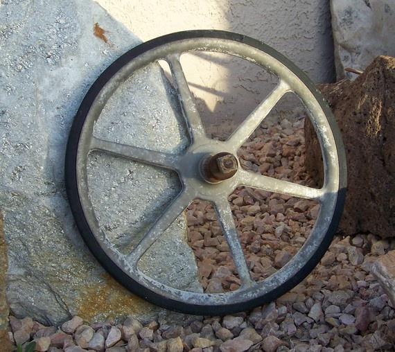 Wheelbarrow Wheel by cynthiasattic on Etsy, $25.00