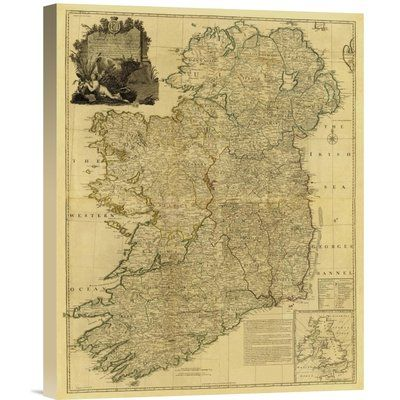 East Urban Home Composite Ireland 1790 Tea Stained Print On Canvas Canvas Prints Art Stretched Canvas Prints
