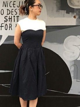 l'atelier du savon atelier|mnishimuraさんのワンピース「綿麻シーチング ベアトップワンピース(I am I in fact…|アイアムアイインファクト)」を使ったコーディネート