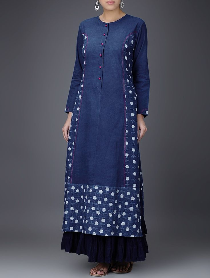 Buy Indigo White Embroidered Dabu Printed Cotton Kurta Women Kurtas Gulaab E Neel dresses tops pants and more Online at Jaypore.com