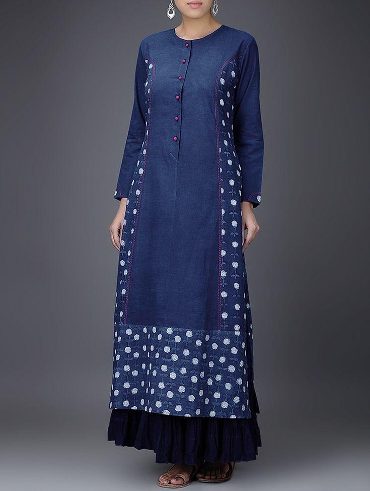 Buy Indigo White Embroidered Dabu Printed Cotton Kurta Women Kurtas Gulaab E Neel dresses tops pants and more Online at Jaypore.com