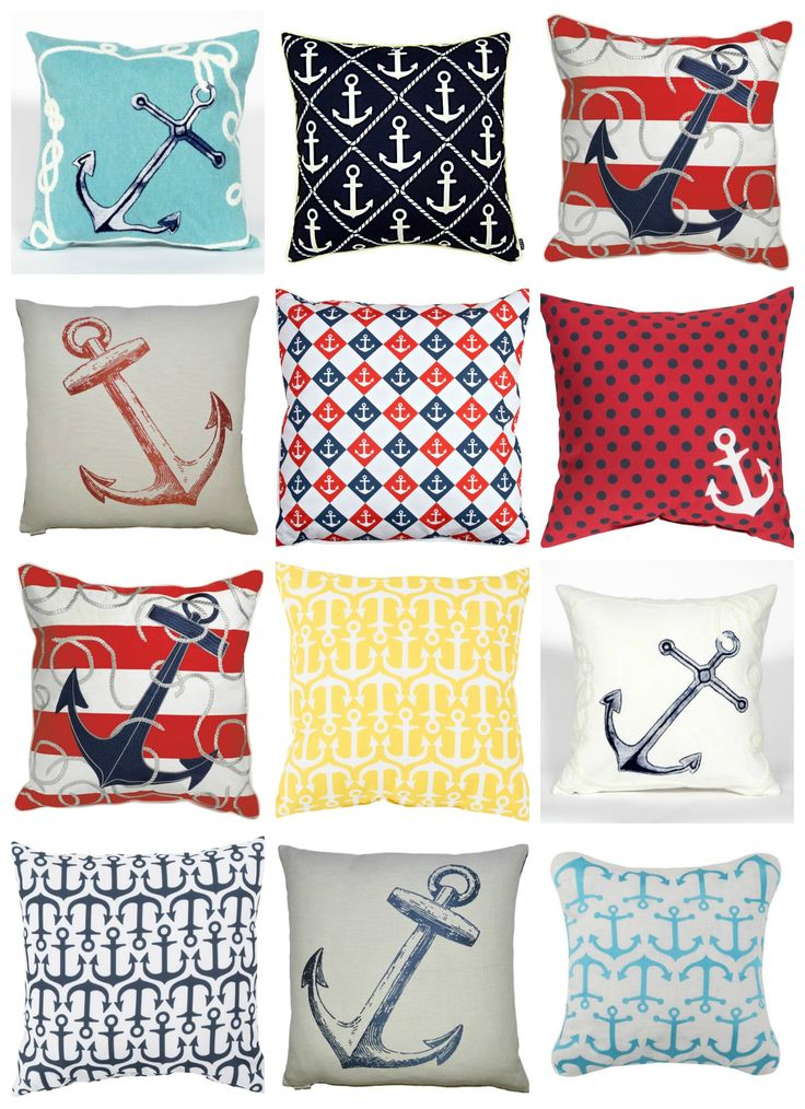 Anchors Aweigh! There's just something special about classic nautical styling for beach house throw pillows