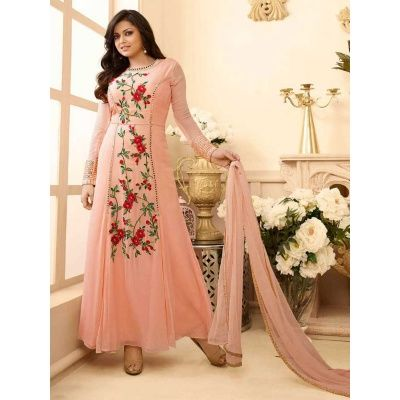 Marvelous Partywear Designer Embroidery Light Pink Premium Net Salwar Suit Comes