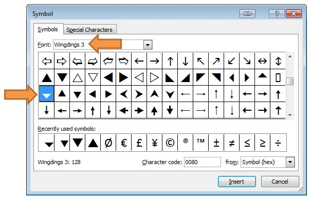 Symbol Menu for Wingdings 3 Character Code 128 Drop-down Arrow - sample wingdings chart