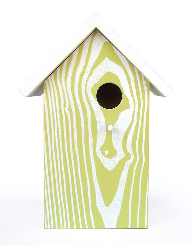 Modern Faux Wood Grain Birdhouse