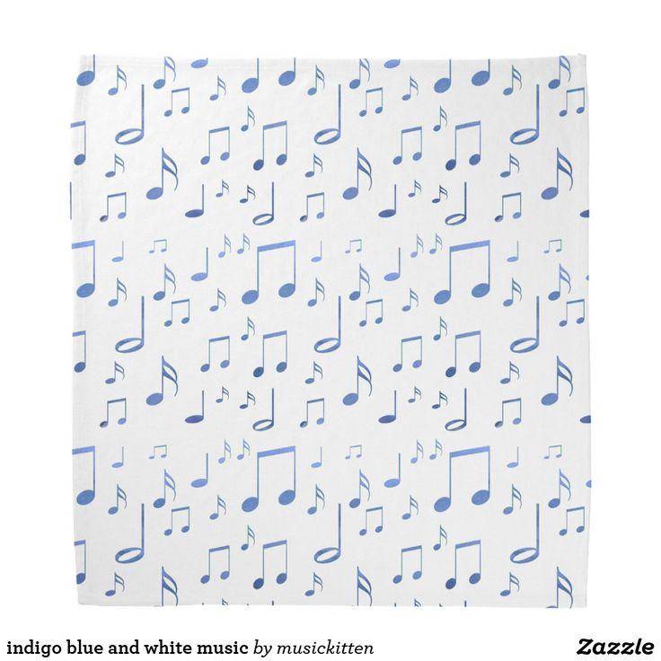 indigo blue and white music bandana