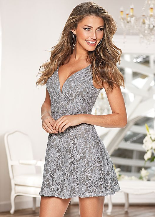 Are you looking for romance? Venus sparkle mini lace dress.