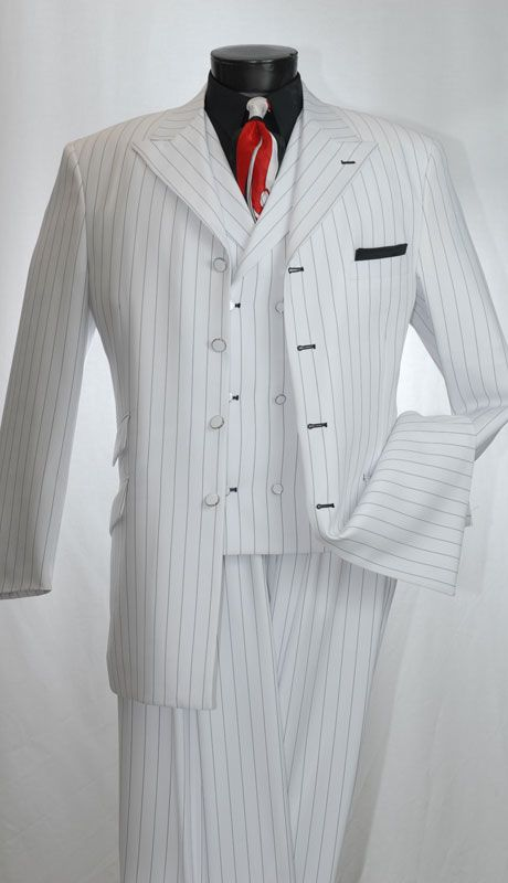 Mens White Black Stripe Gangster Style Zoot Suit by Vittorio St. Angelo  HGS34V