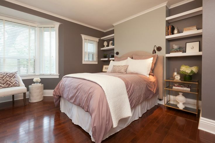 This is a great master bedroom with big windows and a soothing color palette | Master bedroom from #IncomeProperty season 10