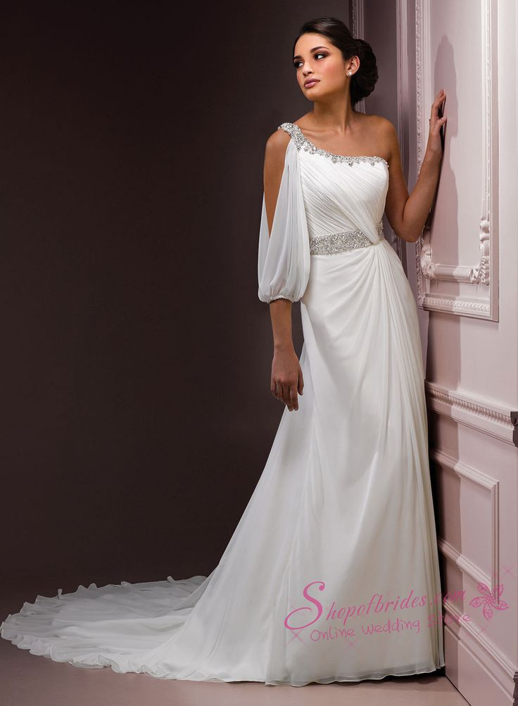 One Shoulder Wedding Dress with bellowy, loose 1 sleeve,  silver beaded strap & belt