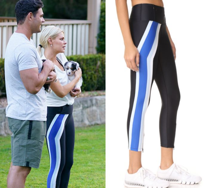 Sophie Monk wears these black leggings with navy blue stripe side in this episode of The Bachelorette on Thursday October 12th, 2017. They are the P.E NATION Set Position Leggings