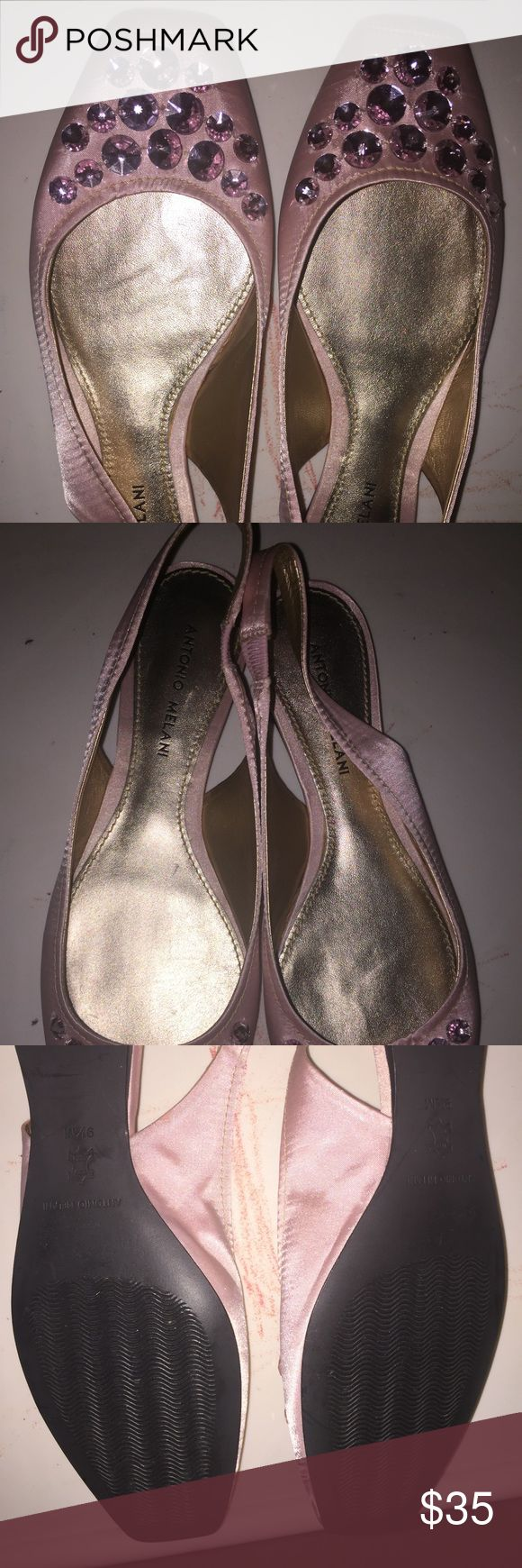 """Pink Bejeweled Flats🎀 """"Pretty in Pink""""Ballerina Slingback Flats with Pretty Pink Jewels at the toe. 💎   NWOT. ANTONIO MELANI Shoes Flats & Loafers"""