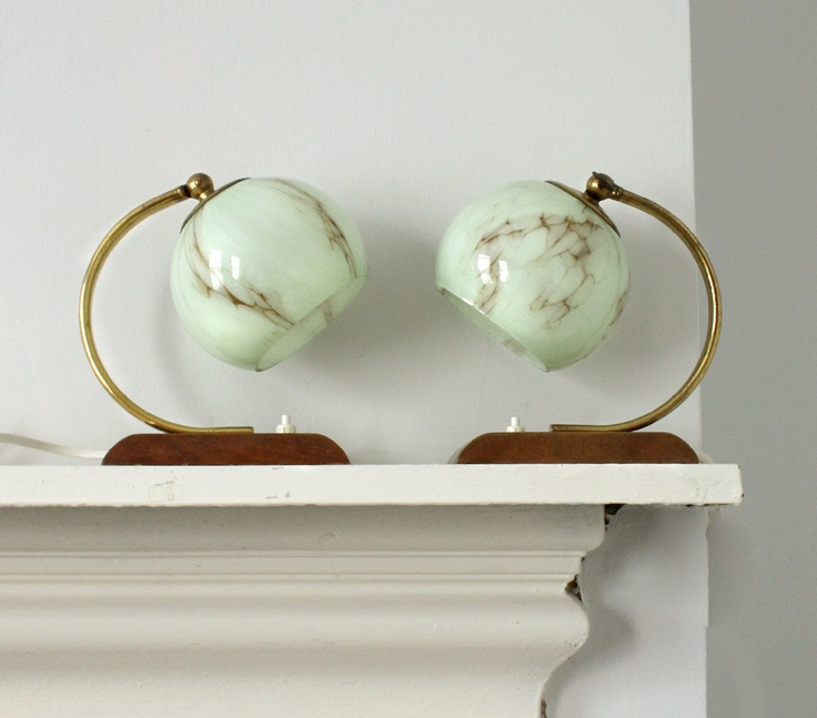 Pair of Vintage Art Deco / Bauhaus Style 1950's Lamps. Light Mint Green Marbled Glass Globe Shades with Wooden Bases and Brass Details