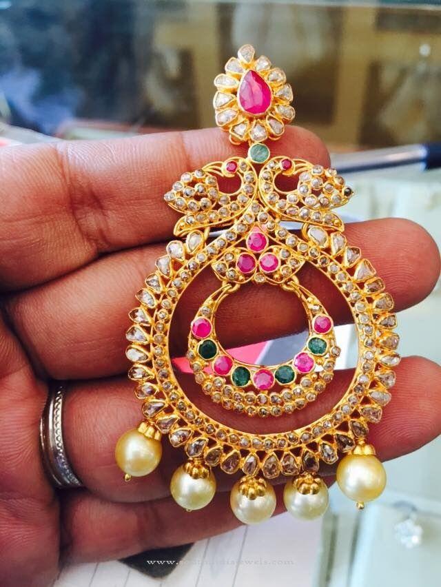 Uncut Diamond Chandbali Earrings Designs, 22K Gold Uncut Diamond Earring Designs.