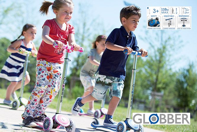 Globber 3 wheel free kids scooters - Designed for the youngest riders, its ideal to develop balance and help your child learn to ride and master the scooter. Available at Fab Store Gift & Gadgets store in Spinneys The pearl Qatar, Madinat Centrale.