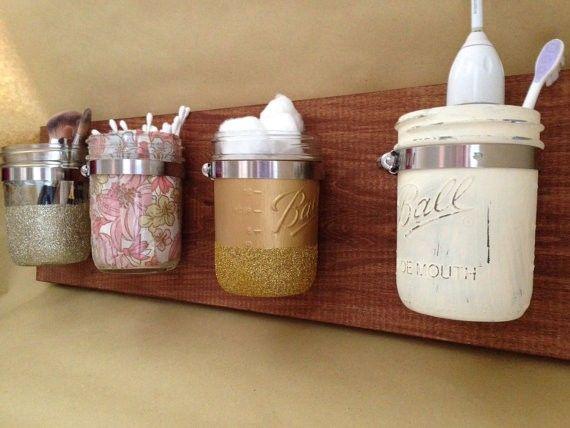 $45.00 Mason Jar Wall Storage/Organizer - diy mason jar decor ideas