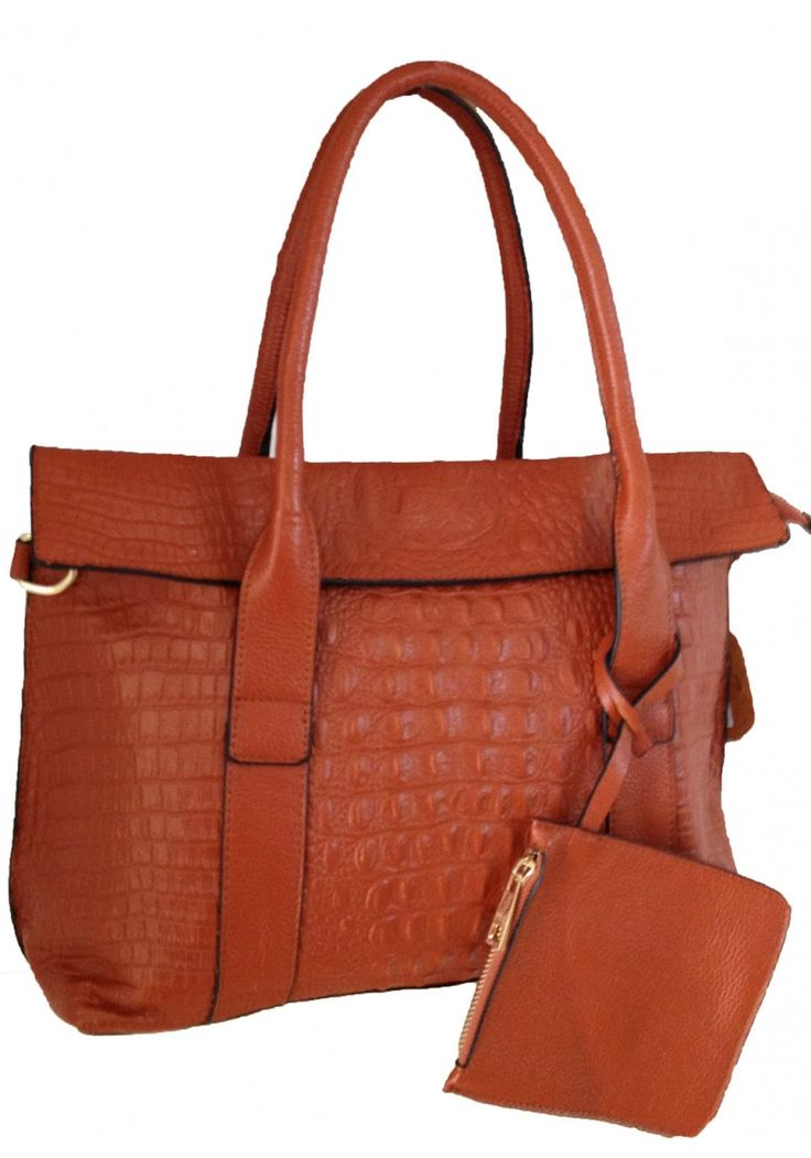Aubree Bouillon -- Women's Brown Flap Over Leather Tote