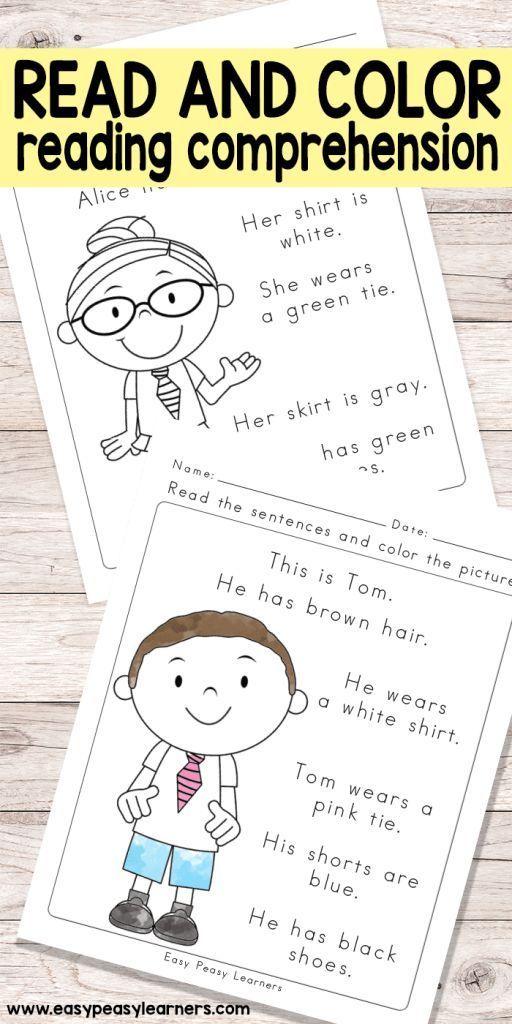 Read & Color Reading Comprehension Worksheets for Grade 1 and Kindergarten