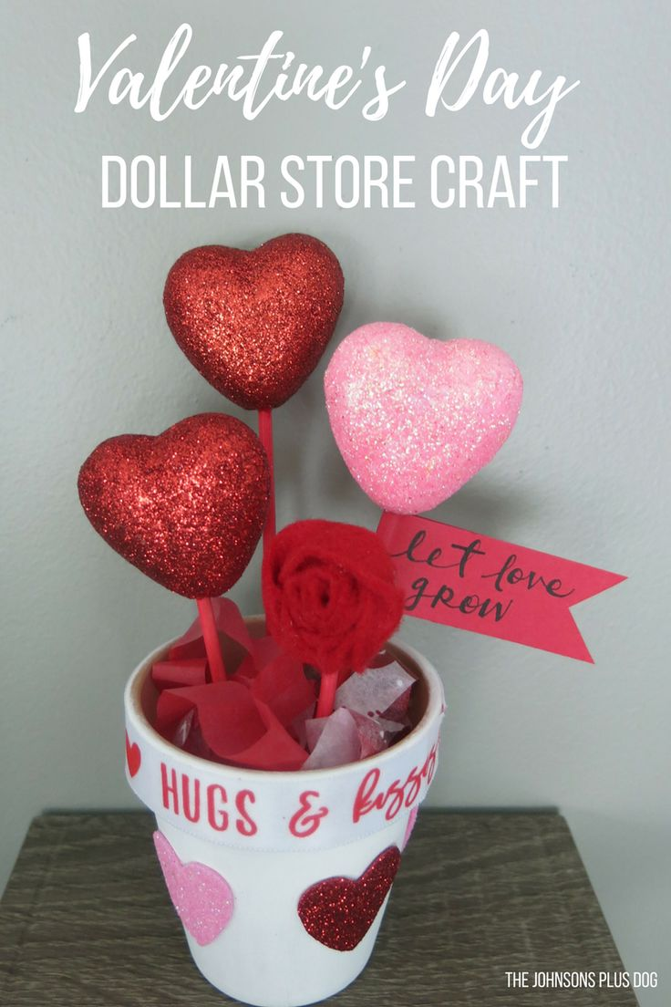 Valentine's Day Dollar Store Craft   DIY Valentine's Day Gift   Valentine's Day gift for teacher   Valentine's Day gift for nanny, Valentine's Day crafts, Valentine's Day decor, Valentines decorations, galentines party, Galentine's party ideas, potted hearts, hearts in a pot, pot of hearts, heart stems, Let Love Grow pot, Let Love Grow Dollar Store, Dollar Store Potted Plant, Dollar Store Pot of Hearts, Felt Rosette, Valentine's Day growing hearts, let love grow gift, DIY growing love…