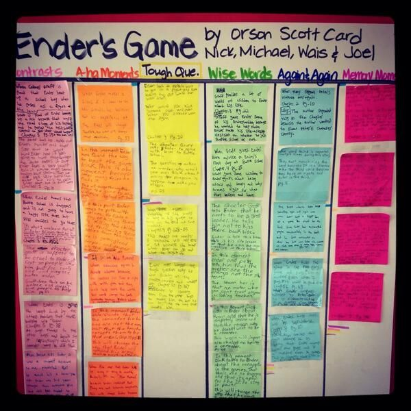 Collaborative use of Notice and Note signposts in the book Ender's Game: