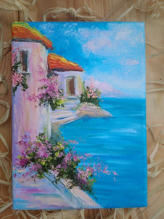Original oil painting canvas Impasto painting Seascape Lovely mother gift Mini painting Birthday present Colorful modern art