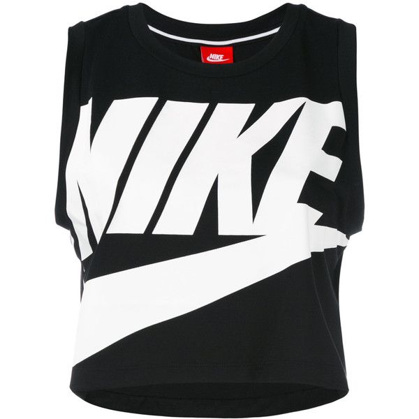 Nike logo cropped tank top ($28) ❤ liked on Polyvore featuring tops, black, cropped tops, crew neck tank top, nike singlet, sleeveless tops and nike
