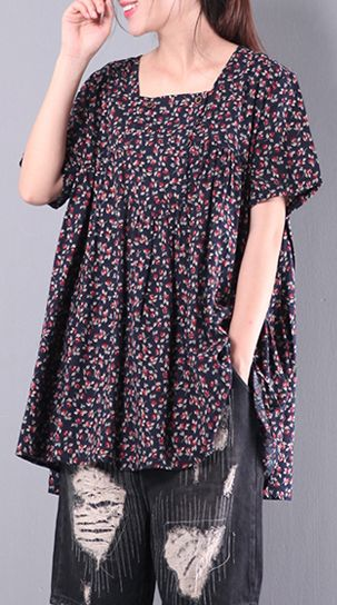navy print casual cotton blouse loose short sleeve t shirt