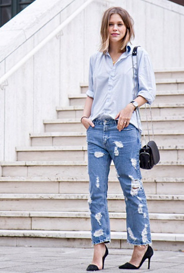 Acne jeans with buttondown and black stilettos