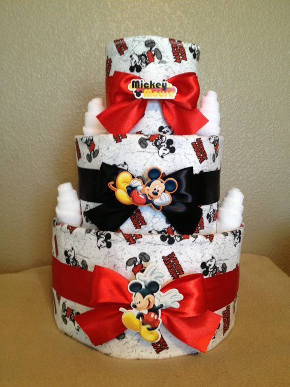 3 Tier Mickey Mouse Diaper Cake