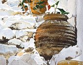 whitewashed steps with flowerpots in the sun, Watercolour Giclée print