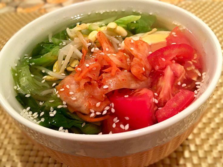 ふか's dish photo たんまり大豆モヤシも麺 キムとま春雨ベジスープ 優しくピリッとザクザク | http://snapdish.co #SnapDish #レシピ #美容/ダイエット #野菜料理 #野菜スープ #ベジタリアン #春雨