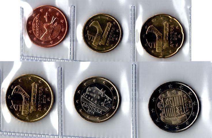 Monedas de euros de Andorra. Serie de 6 valores representan un rebecon con quebrantahuesos al fondo, el campanario de la Iglesia de Santa Coloma, la Casa de la Vall y el escudo de Andorra