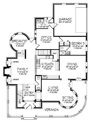 Five Bedroom Queen Anne (HWBDO57201) | Queen Anne House Plan from BuilderHousePlans.com
