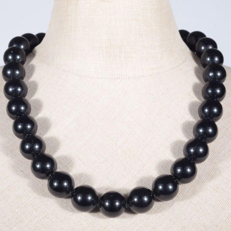 Collier Kette Halskette Kunststoff Perlen rund schwarz Vintage Mode Schmuck