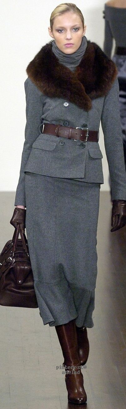 Ralph Lauren - Love the combination of Grey with Brown. Never thought of pairing them together, but it looks so beautiful.
