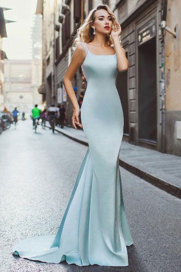 Mermaid Scoop Sweep Train Light Blue Stretch Satin Backless Beaded Prom  Dress F6863 promdress graduationdress eveningdress dress dresses gowns partydress   ... 6681f9aa4d17