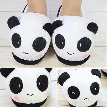 Women Men Lovers Cute Panda Warm Plush Indoor Home Slippers Shoes - US$10.41