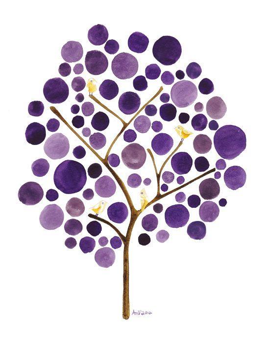 Oro amarillos pinzones collage en un árbol de acuarela violeta.    Sicalis es una impresión giclée arte reproducción de uno de mis pinturas de