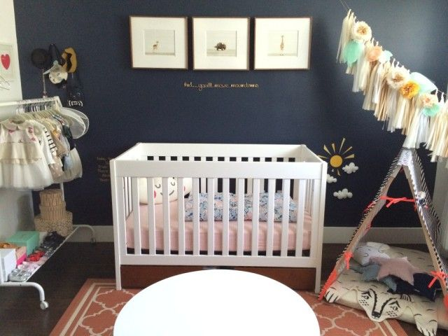 Nursery color trend we love right now: navy + coral
