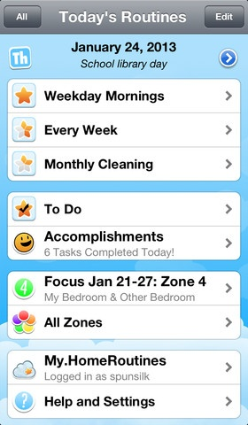 Home Routines iPhone App.