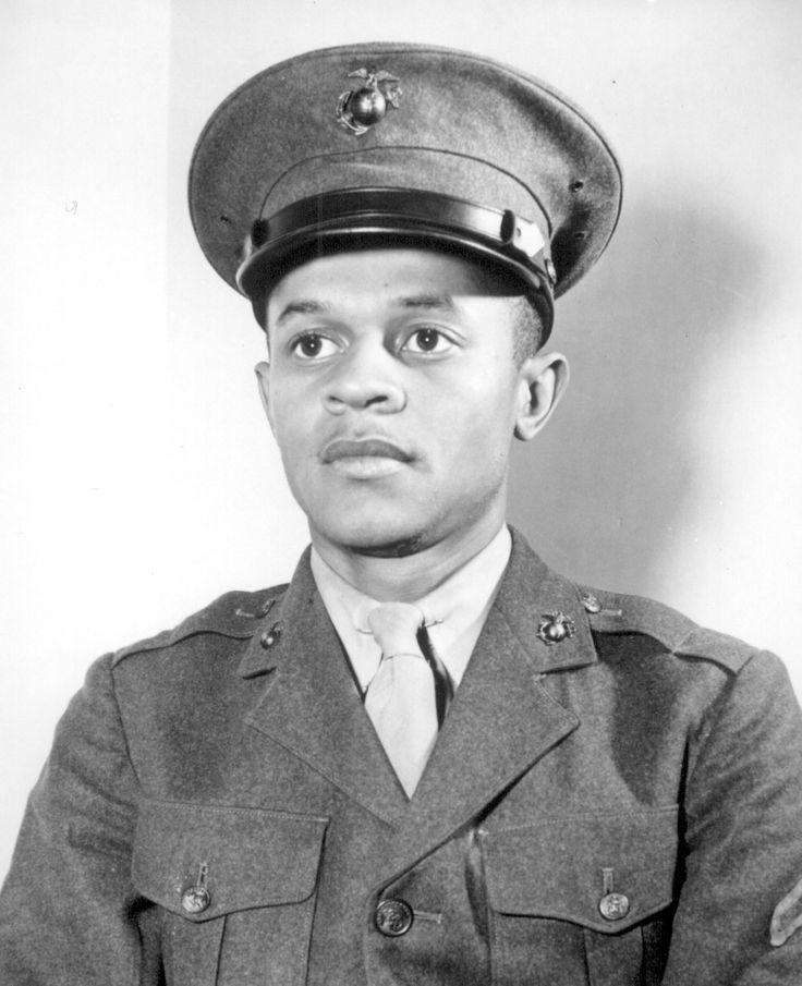 Breaking a tradition of 167 years, the U.S. Marine Corps started enlisting Negroes on June 1, 1942. The first class of 1,200 Negro volunteers began their training 3 months later as members of the 51st Composite Defense Battalion at Montford Point, a section of the 200-square-mile Marine Base, Camp Lejeune, at New River, NC. The first Negro to enlist was Howard P. Perry shown here.