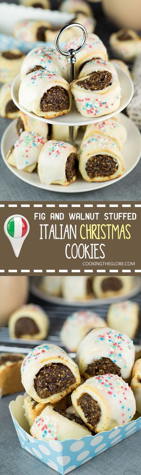 These Italian Christmas Cookies, also called Cuccidati, are filled with a mouth-watering fig and walnut mixture and topped with a sweet white icing!   http://cookingtheglobe.com