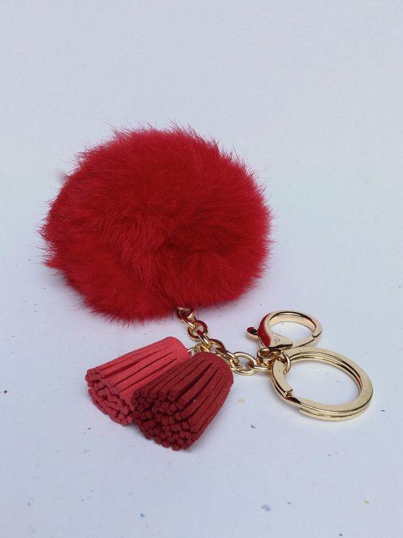 Fur pom pom keychain in red Rabbit bag charm ball by YogaStudio55