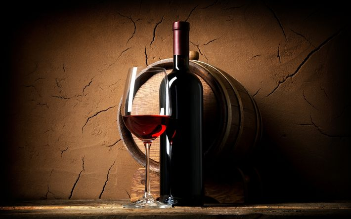 Download wallpapers Red wine, glass of wine, bottle of wine, grapes
