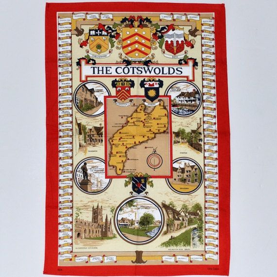 The Cotswolds Map Souvenir Tea KitchenTowel by VintageQuarters
